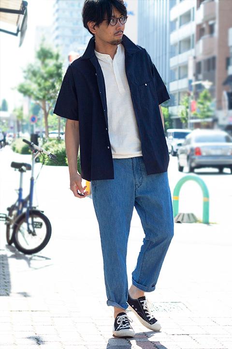 HANDROOM オープンカラー半袖シャツのコーディネート