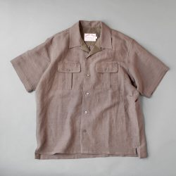 comm.arch. LINEN OPENCOLLAR S?S SHIRTS|MUD BROWN
