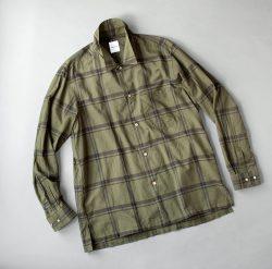 SAGE DE CRET コットンシルクローンチェックオープンカラーシャツ|カーキ