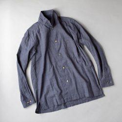 SAGE DE CRET コットンシルクローンチェックオープンカラーシャツ|ネイビー