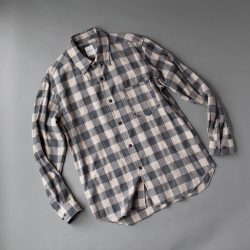 SAGE DE CRET ヘリンボーンチェックシャツ|ベージュ